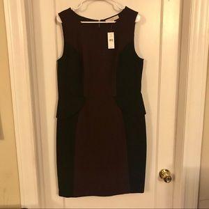 NWT Loft maroon and back peplum dress size 14